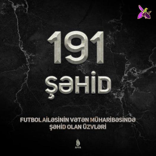 Qarabağda 191 futbol adamı şəhid olub